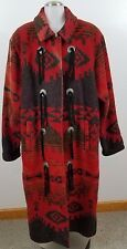 woolrich large womens trench coat fringe western aztec red orange coat navajo