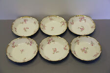 Six Pink Floral Gold Trim Bowls Chas Field Haviland  118 Years Old