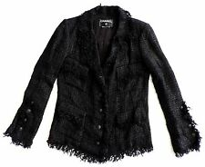 Chanel Black Tweed Fringed Blazer Jacket Fantasy Lesage w/ Chain HTF 36 38