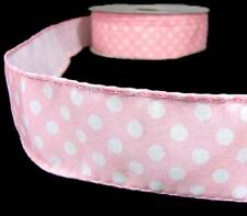 "5 Yds Light Pink Pastel Baby Polka Dot Wired Ribbon 1 1/2""W"
