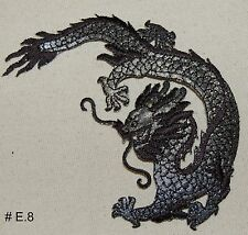 1PC~BLACK DRAGON~IRON ON EMBROIDERED APPLIQUE