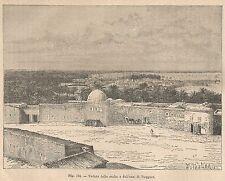 A2445 Veduta della casba e oasi di Tuggurt - Xilografia del 1895 - Engraving