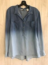 Orvis women's Tunic Shirt Ombre Blue Denim sz M Long Sleeve Button Down