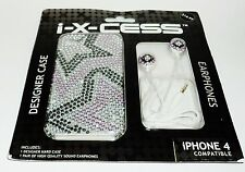 i-x-cess Designer Case & Earphones iPhone 3GS Compatible Hard Case SEQUIN STARS
