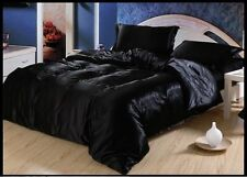 USA&CANADA FREE SHIP BLACK SOLID SATIN SILK 3 PCDUVET COVER SET1000TC FULL/QUEEN