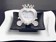 75 Pearl White Heart Wedding Cinderella Coach Place Card Frame Wedding Favor