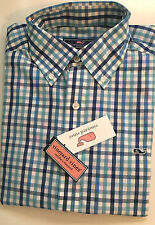 NEW MENS VINEYARD VINES SLIM FIT WHALE AFT CHECK AVIATOR BLUE SHIRT LARGE NWT