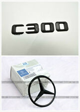 Genuine 2pcs BLACK Mercedes Benz Star+C300 emblem w204 c-class Badges Trunk Lid