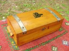 Nice Rustic SHIP MOTIF White Cedar Dove-Tailed Box Chest w/ Hinged Lid &Bun Feet