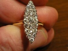 ANTIQUE EDWARDIAN~OLD MINE DIAMONDS~NAVETTE SHAPED RING~18K GOLD~1 1/2 CARATS~