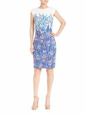 NEW TADASHI SHOJI  WHITE BLUE MULTI EMBROIDERED COCKTAIL EVENING DRESS 14