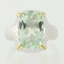 Green Amethyst Cocktail Ring - Sterling Silver & 18k Yellow Gold 7.50ct