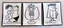 Vintage MID Century Modern Bent Glass Coin Trays 3pc Cartoon Comic 50 60s McBeth
