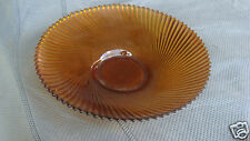"VINTAGE Amber Swirled Glass Serving Bowl Marked France Large 11 1/4"" Wide"