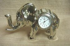 STUNNING SMALL Shiny Silver Metal ELEPHANT CLOCK w/Enamel & Faux Jewel Accents