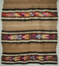 """Vintage Hand Woven Wool Textile Rustic Colorful Piece 28"""" x 60"""" Quilting Cutter"""
