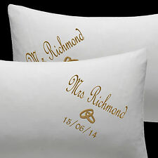 PERSONALISE WEDDING GIFT PILLOW CASES MR/MRS EMBROIDERY NAMES~DATE~JUST MARRIED