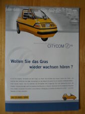City-el Electric Microcar Trike Raro Folleto c1998-Ciudad COM Alemania