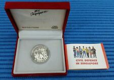 1991 Singapore Civil Defence $5 Silver Proof Coin