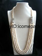 """3rows freshwater pearl  white near round 8-9mm &dragon clasp  necklace 30-32"""""""