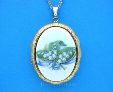 Porcelain LILY of the VALLEY CAMEO GT Locket Pendant Necklace BR Christmas Gift