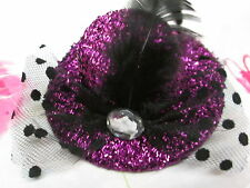 PINK FUSHIA  MINI GLITTER TOP HAT CLIP VEIL CRYSTAL FEATHER BURLESQUE PARTY