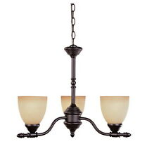 Oil Rubbed Bronze And Warm Amber Glazed Glass 3 Light Chandelier