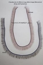 cils poupées lot de 2 bandes 20cm-eyelashes brown black-for Antique modern dolls