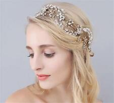 Gold Bridal Hair Accessories Crystal Leaf Vine Wedding Prom Rhinestone Headpiece
