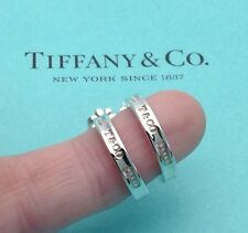 *NEW* Tiffany & Co. Sterling Silver 1837 Small Narrow Hoop Earrings