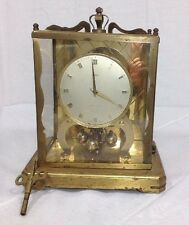 Vintage Brass Schartz 1000 Day Mantel Clock W/Key Untested