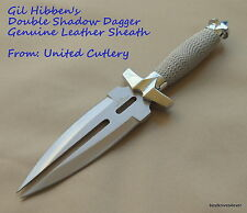 UNITED CUTLERY GIL HIBBEN DOUBLE SHADOW DAGGER WITH LEATHER SHEATH
