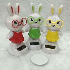 Solar Power Rabbit Shape Toys for Auto Car Home Window Display Decoration