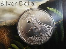 2007 New Zealand Great Spotted Kiwi $1 1oz .999 Fine Silver Bullion Coin on Card