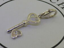 Genuine Thomas Sabo Solid Sterling Silver & Diamond Heart Key Charm Pendant