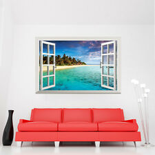 Huge 3D Window Wall Art Stickers Troical Beach Home Room Decals Vinyl Mural  DIY