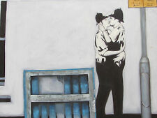 Banksy style large oil painting canvas contemporary gay street graffiti art