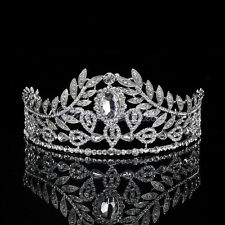 Vintage Tiara Pageant Prom Wedding Crystal Leaves Crown Bridal Hair Band Jewelry