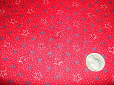 """Vintage Cotton Fabric NAVY BLUE,WHITE OUTLINE STARS DOTS ON RED 1 Yd/45"""" Wide"""