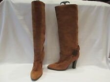 KARLA OTTO PARIS LIGHT TAN SUEDE HIGH CALF PULL ON BOOTS UK 6.5 US 9 (371)