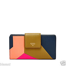 Fossil Original SL6905997 Bright Multi Sydney Tab Clutch Leather Women's Wallet