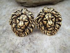 Handmade Oxidized Brass Lion Cuff Links