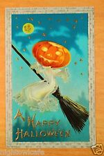 JACK-O-LANTERN GHOST ON BROOM MAN IN THE MOON HALLOWEEN Fantasy Postcard ca.1910