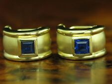 8kt 333 GELBGOLD OHRCLIPS MIT 1,40ct SYNTH TANSANIT BESATZ / 4,8g / 14,2 mm
