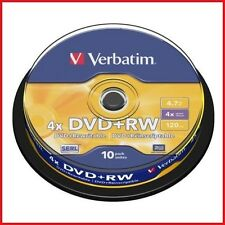 Verbatim DVD+RW 4.7GB 4x Speed 120min Rewritable DVD Disc Spindle Pack 10 (43488