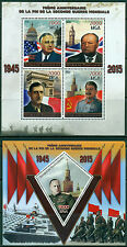 World War II Stalin Churchill de Gaulle Madagascar MNH stamp set 4val sht + s/s