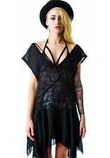 Widow by Lip Service Black Sheer Draped Asymmetrical Dress Alternative Grunge XL