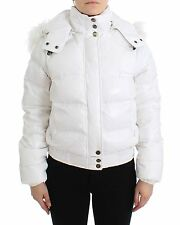 NWT $650 JUST CAVALLI White Down Puffer Parka Jacket Coat Vest Short IT38/US4