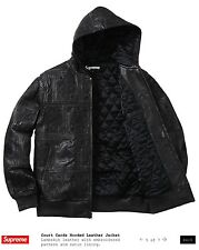 BLACK Supreme Court Cards Hooded Lambskin Leather Jacket Extremely Limited BOGO
