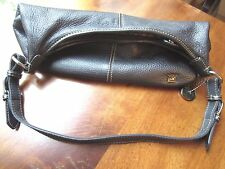 The SAK Pebbled black Leather Hobo Shoulder Bag with zippered silver hardware